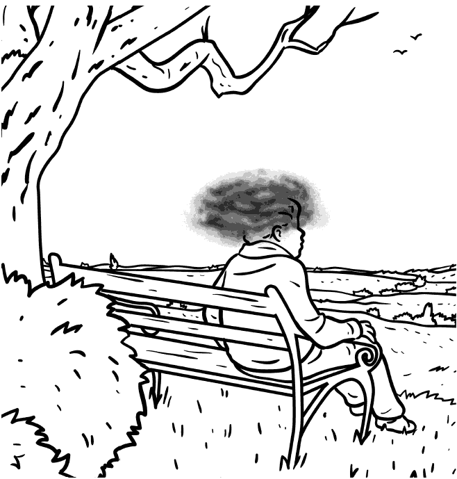 person on park bench with brain fog